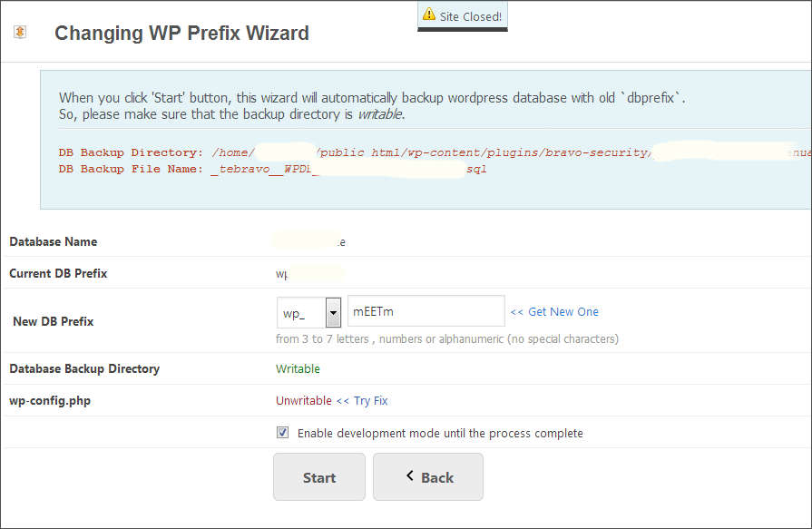 change wordpress db prefix