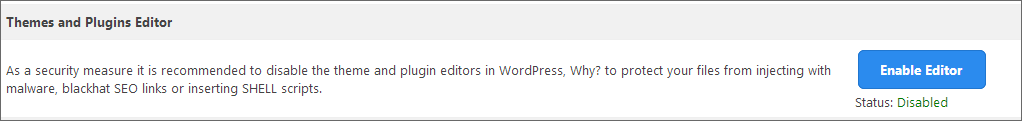 wordpress disable file editor
